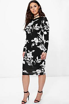 Plus Lottie Floral Mono Printed Midi Bodycon Dress