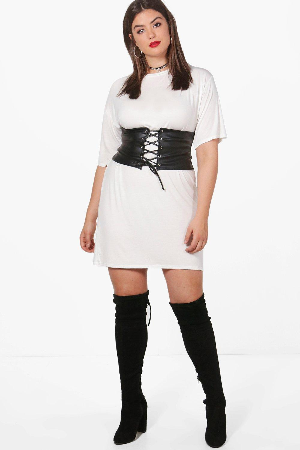 plus belted t shirt dress at boohoo