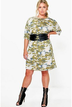 Plus India Belted Camo T-shirt Dress