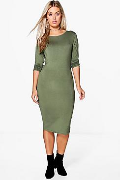 Plus Annie Long Sleeve Midi Bodycon Dress