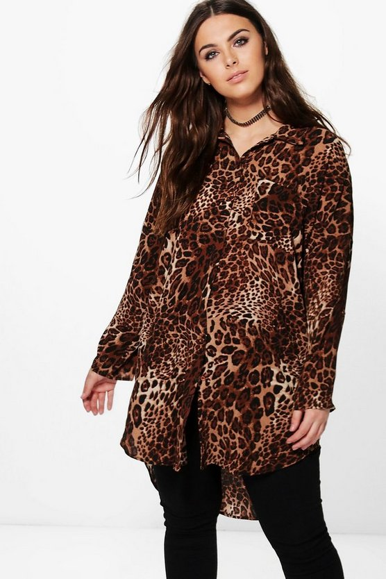 Plus Elsa Leopard Print Oversized Shirt