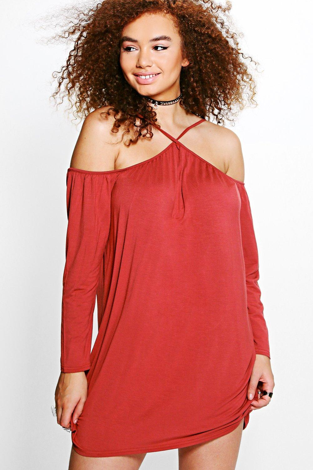 Plus Niamh Strappy Open Shoulder Dress