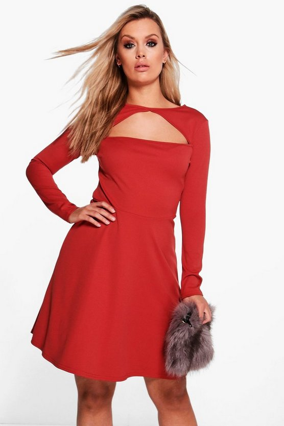 Plus Nancy Neck Detail Skater Dress