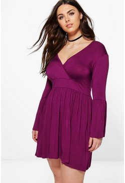 Plus Amelia Wrap Front Skater Dress