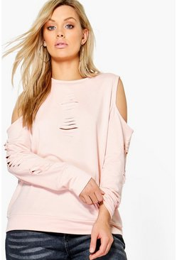 Plus Anya Distressed Cold Shoulder Sweat