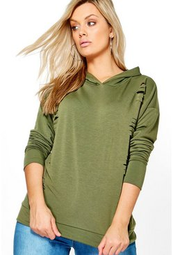 Plus Madison Hooded Distressed Sweat Top