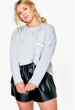 Plus Natalia Sweat Pocket Detail Top