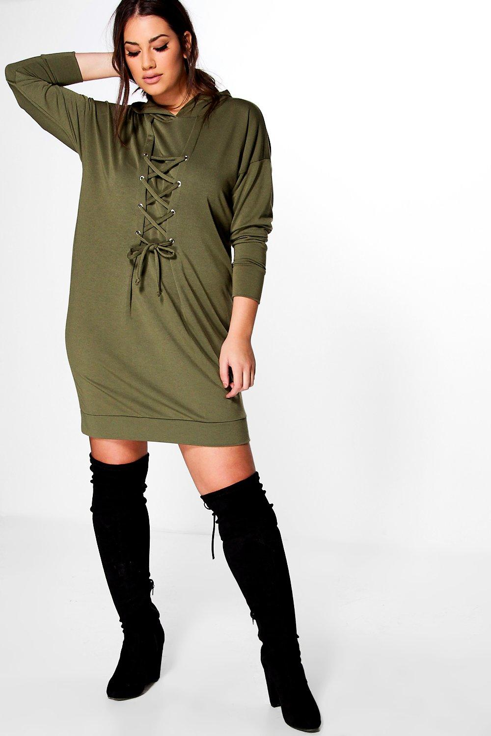 Plus Eloise Lace Up Sweat Dress
