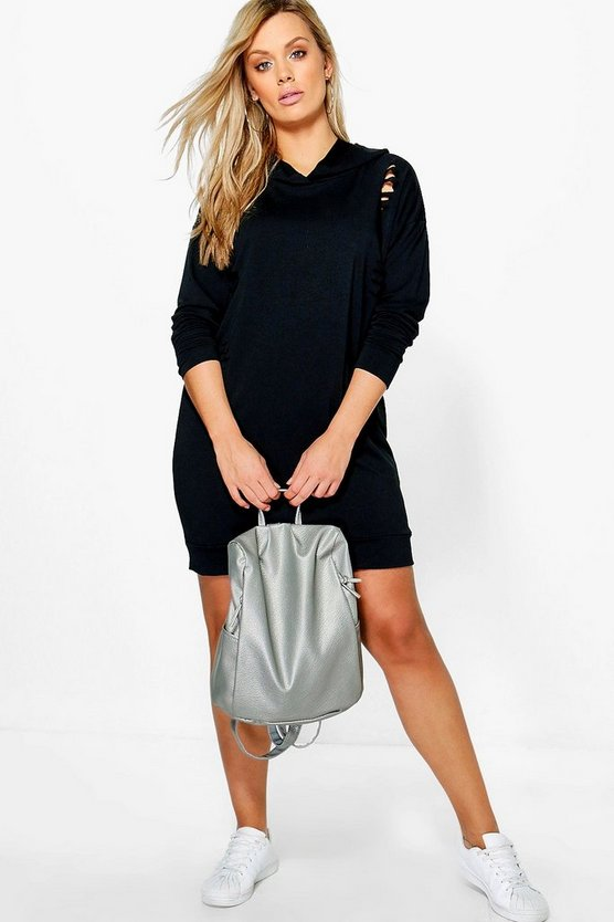Plus Ruby Hooded Distressed Sweat Dress