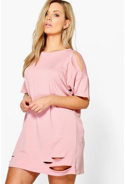 Plus Faith Distressed T-shirt Dress