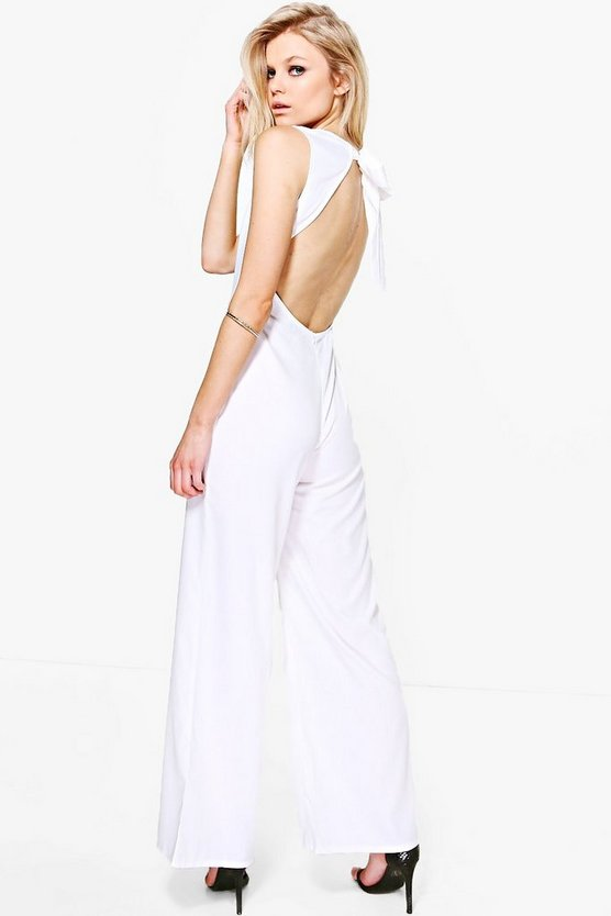 Petite Sadie Open Back Woven Wide Leg Jumpsuit