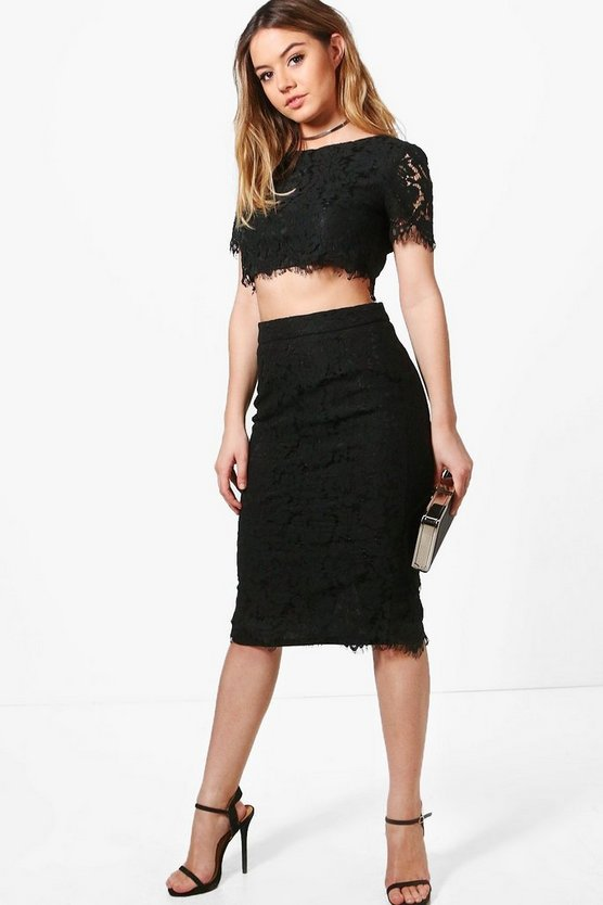 Petite Zoe Lace Crop + Midi Skirt Co-ord