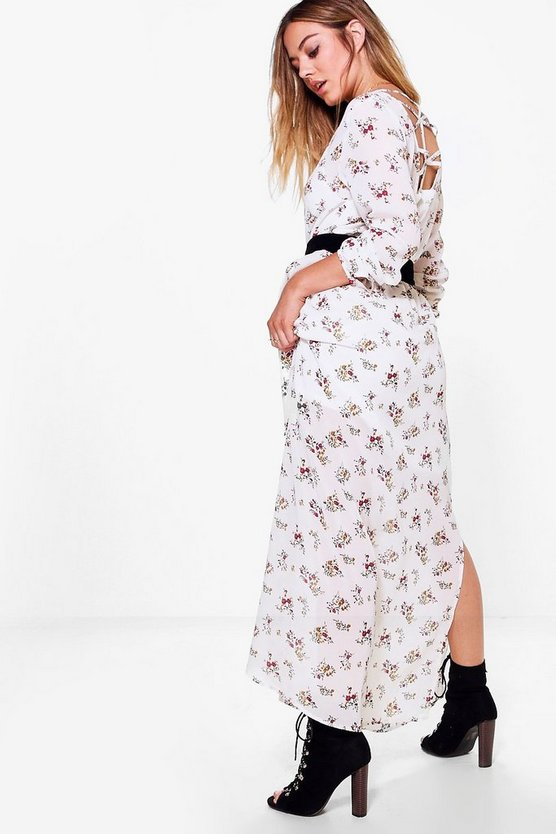 Petite Saskia Ditsy Floral Cage Back Maxi Dress