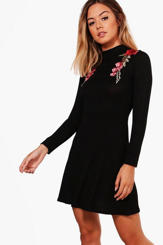 Petite Karla Embroidered Turtle Neck Skater Dress