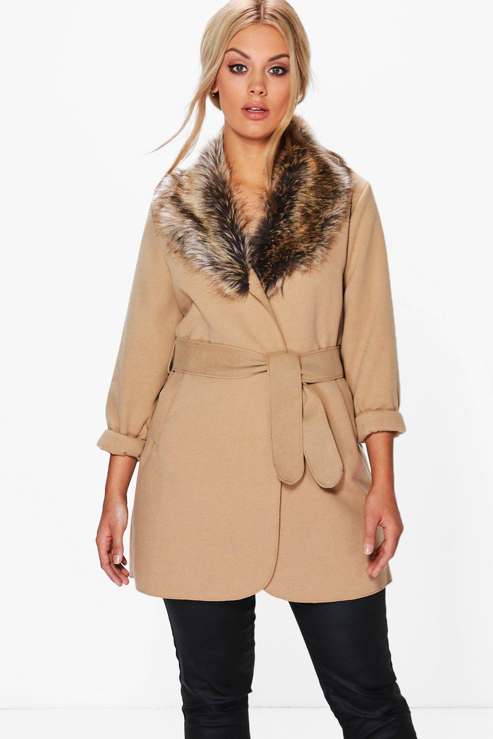 Plus Tara Faux Fur Collar Wrap Coat