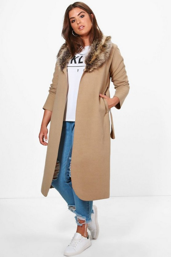 Plus Nelly Faux Fur Collar Wrap Coat