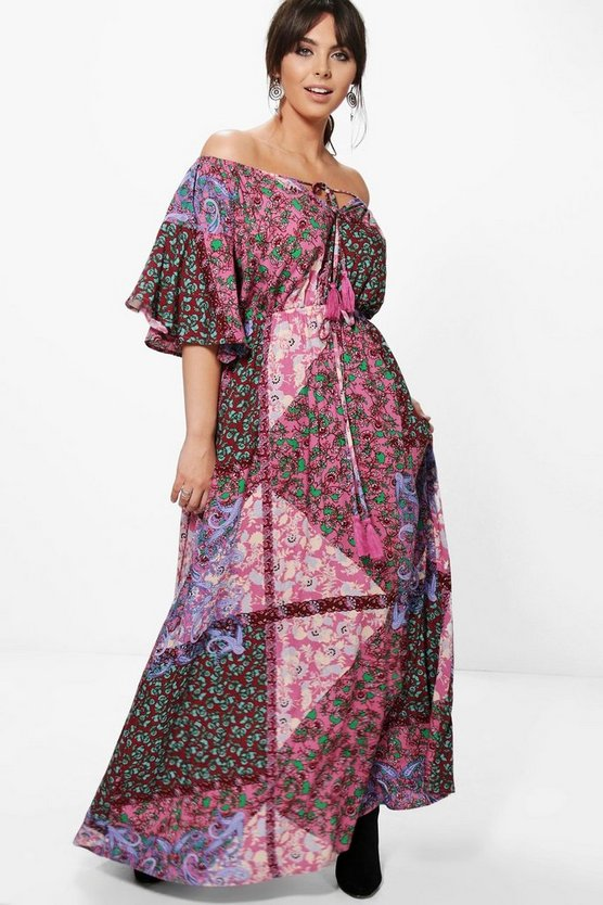 Plus Laura Printed Off The Shoulder Maxi Dress