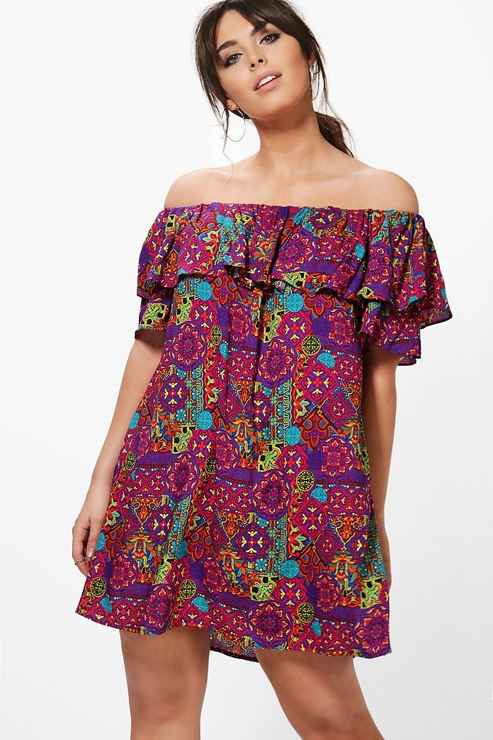 Plus Beth Printed Off The Shoulder Dress