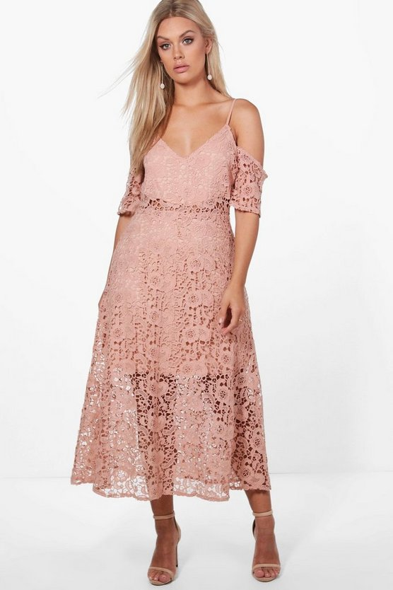 Plus Coleen Crochet Lace Premium Skater Dress