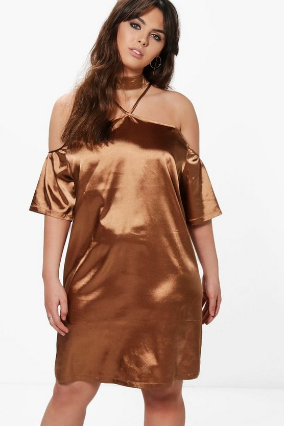 Plus Louise Satin Open Shoulder Choker Shift Dress