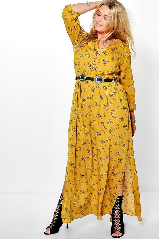 Plus Gemma Ditsy Floral Cage Back Maxi Dress