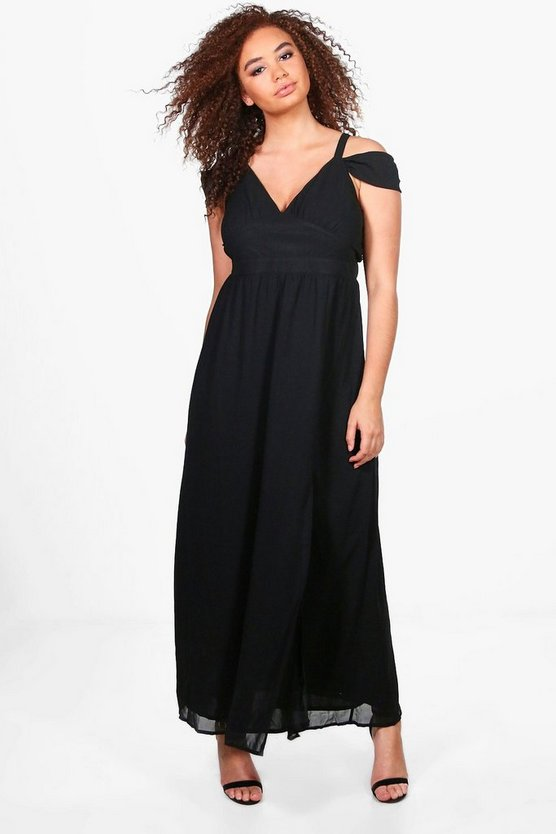Plus Sara Chiffon Open Shoulder Maxi Dress