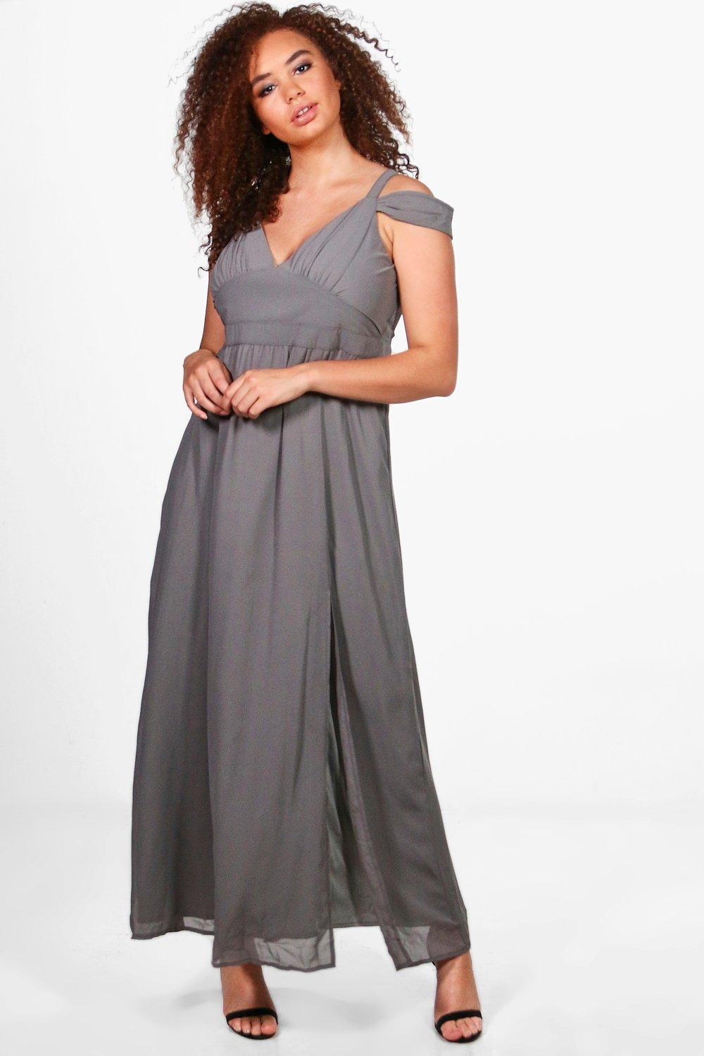Plus Sara Chiffon Open Shoulder Maxi Dress grey