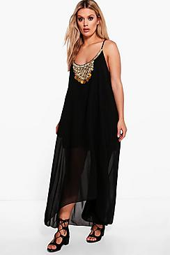 Plus Abi Necklace Trim Hanky Hem Dress
