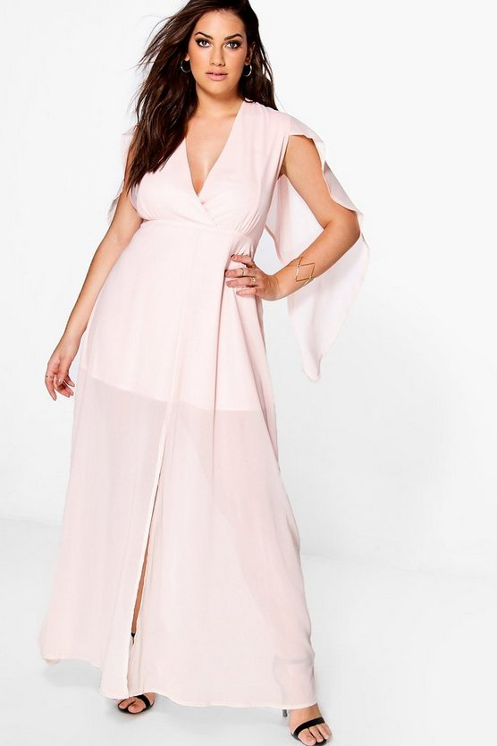 Plus maria Plunge Neck Cape Detail Maxi Dress