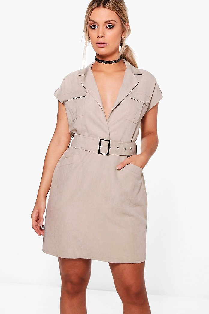 Plus Violet Suedette Belted Utility Dress