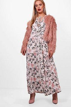 Plus April Floral Print Flute Sleeve Maxi Dress