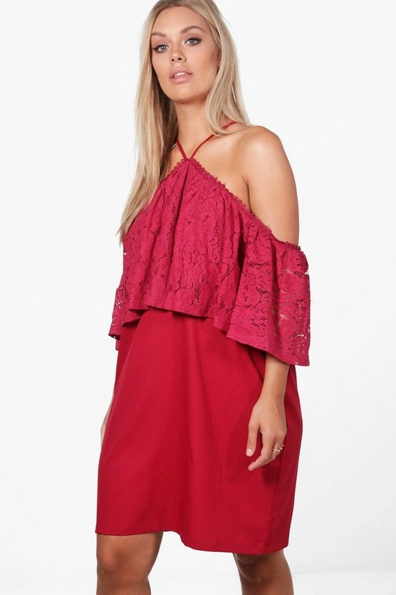 Plus Josie Open Shoulder Lace Ruffle Swing Dress