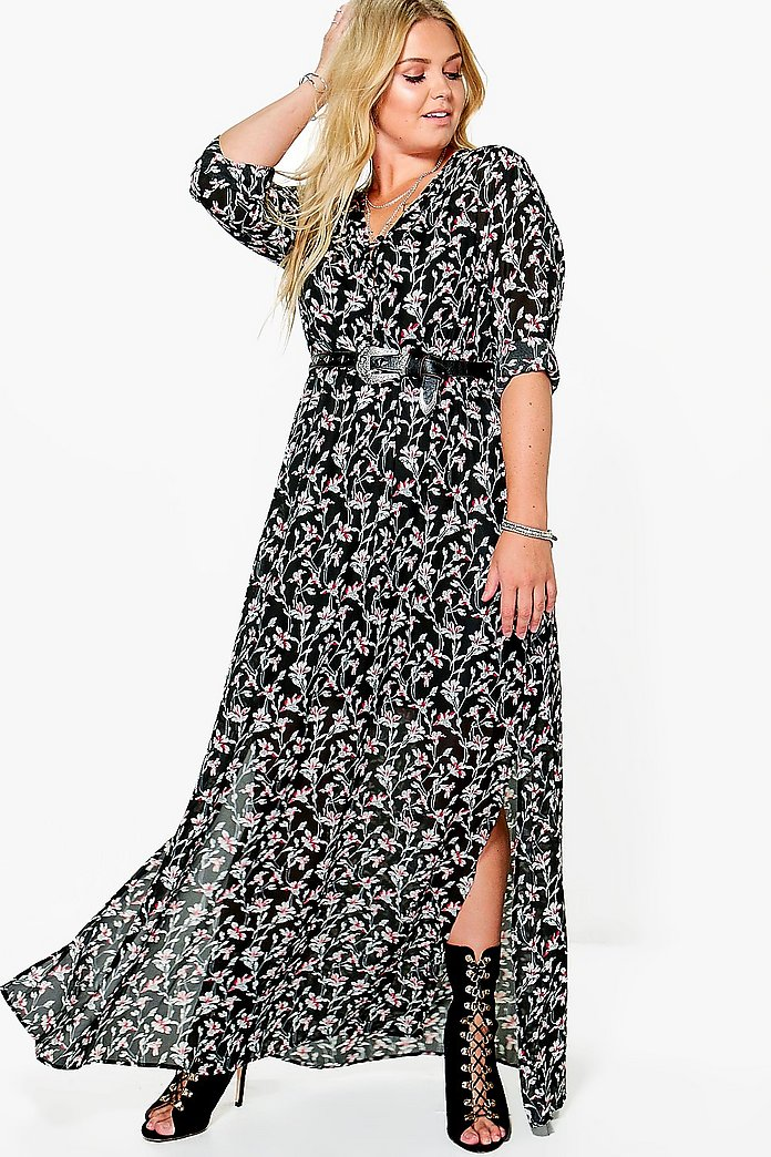 Plus Katie Floral Cage Back Maxi Dress