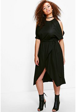 Plus Han Open Shoulder Tie Waist Wrap Dress