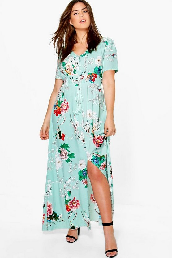 Plus Isla Floral Print Maxi Dress
