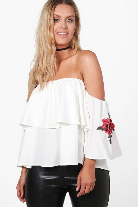 Plus Adele Off The Shoulder Applique Top