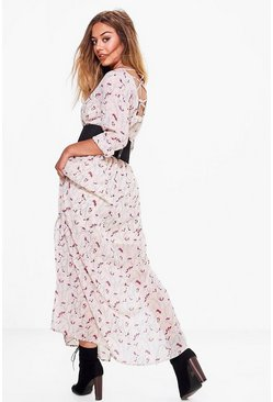Petite Jennifer Floral Cage Back Maxi Dress