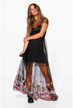 Petite Sarah Embroidered Hem Mesh Maxi Dress