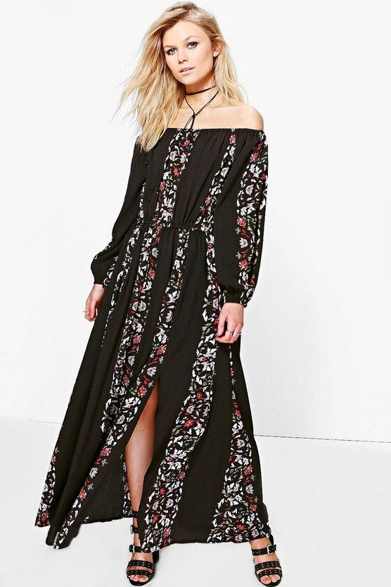 Petite Abbi Floral Print Off The Shoulder Maxi Dress