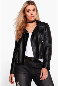 Plus Lily Biker Collar Faux leather Jacket