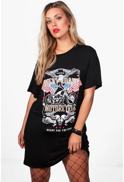 Plus Caty 'West Coast Motorcycle' Print Tshirt Dress