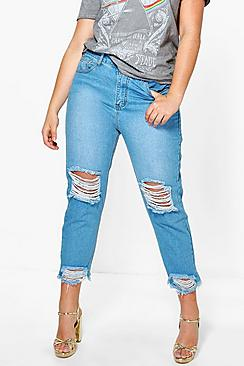 Plus Emily Fray Hem Rip Knee Boyfriend Jean