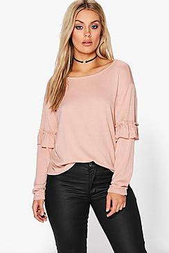 Plus Saskia Frill Sleeve Jumper