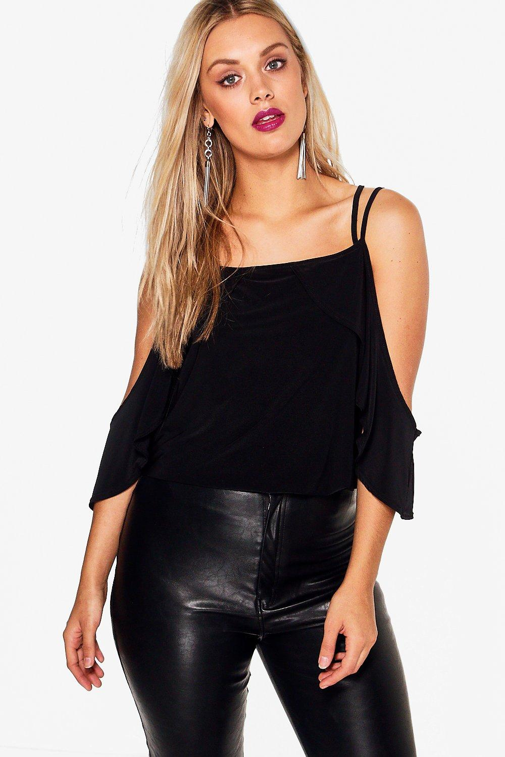 Plus Hollie Drape Sleeve Cross Strap Top