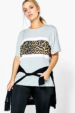 Plus Kiera Leopard Print Panel Sports Tee