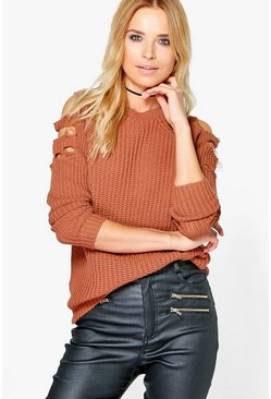 Petite Lauren Distressed Cold Shoulder Jumper