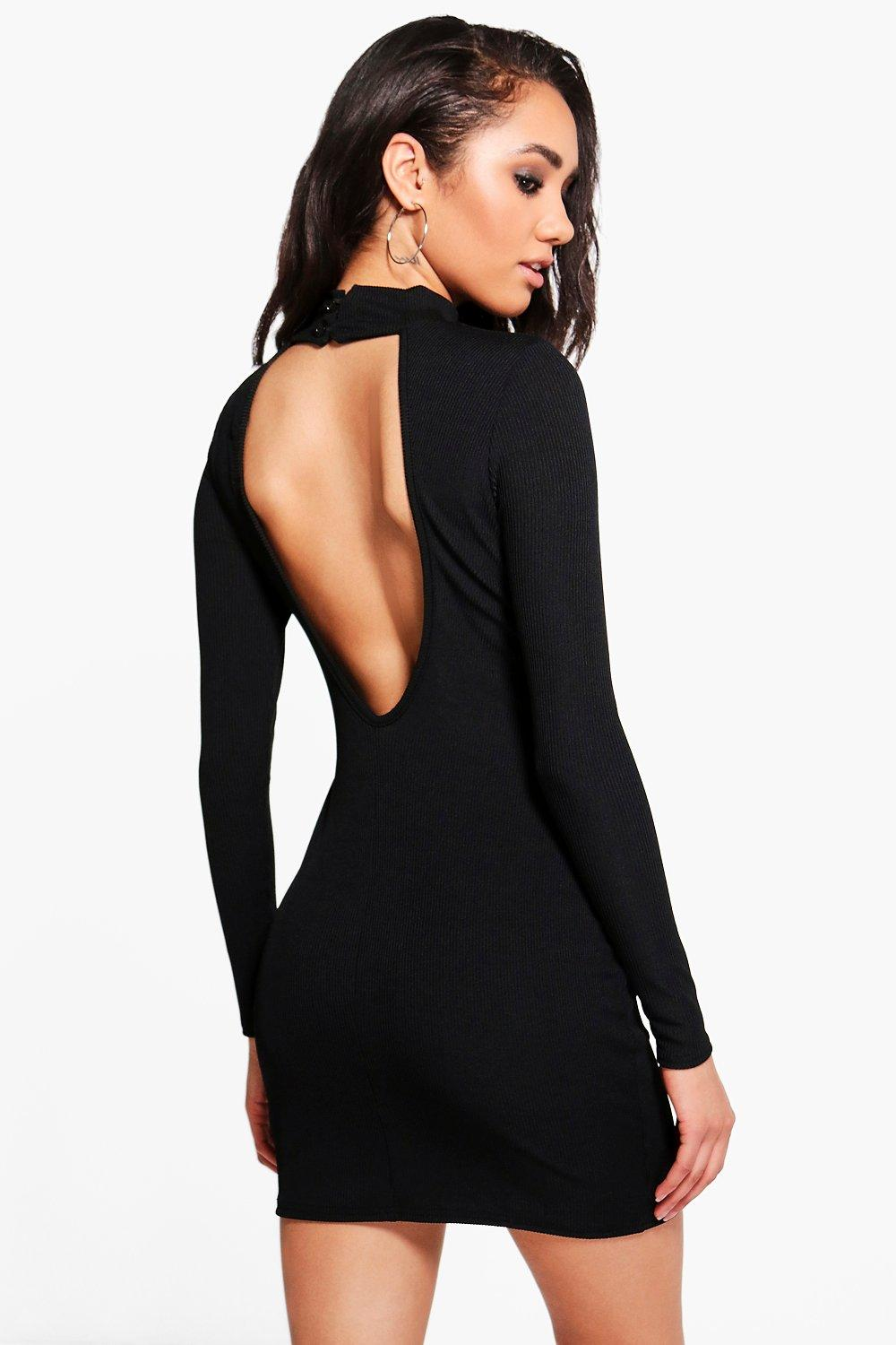 Petite Charis Backless Turtle Neck Rib Mini Dress