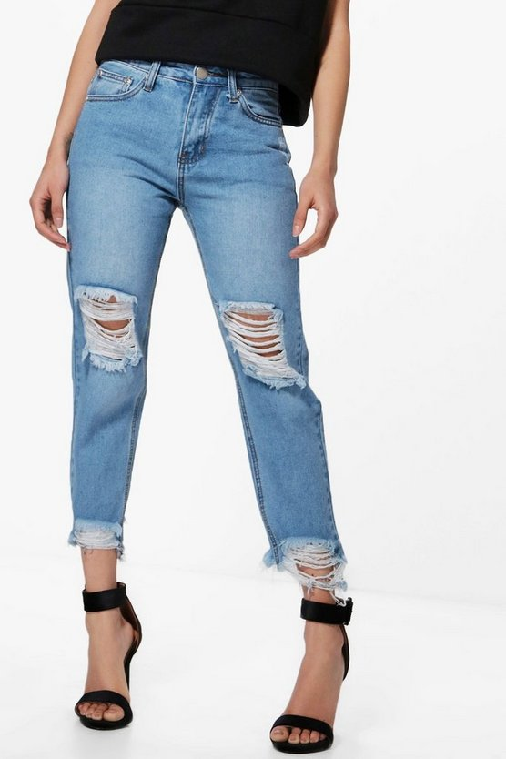 Petite Esther Fray Hem Rip Knee Boyfriend Jean