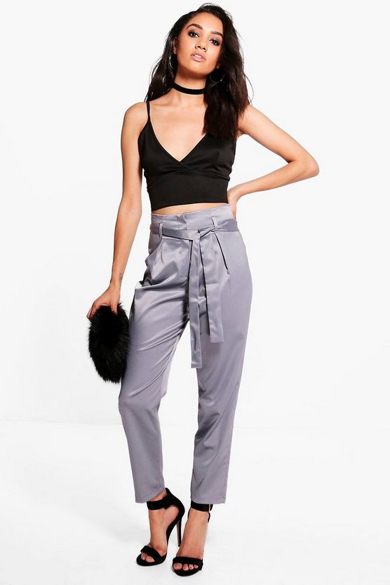 Petite Harriet Satin Tie Waist Trousers