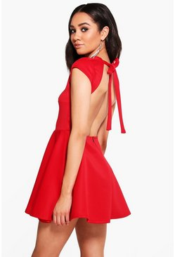 Petite Hailey Scuba Backless Skater Dress